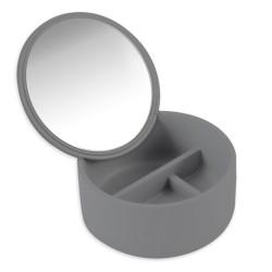 Pojemnik kosmetyczny z lusterkiem szary